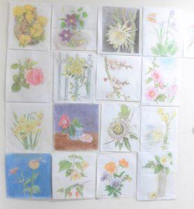 ご利用者が描かれたお花の絵